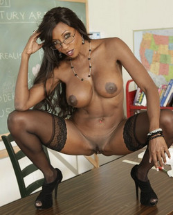 Lustful ebony teacher-whore Diamond..