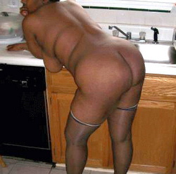 Old ebony wife is spreads puffy hips..