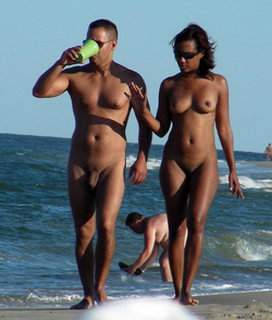 Black exhibs on the beach and public..